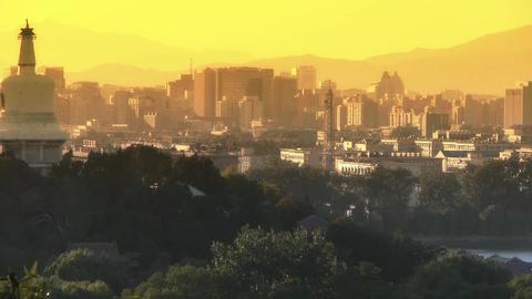 panoramic view of BeiJing BeiHai Park White Tower & metropolis high rise bui Footage