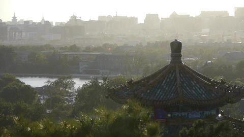Fog dust haze cover Beijing pavilion & metropolis... Stock Video Footage