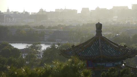 Fog dust haze cover Beijing pavilion & metropolis... Stock Video Footage