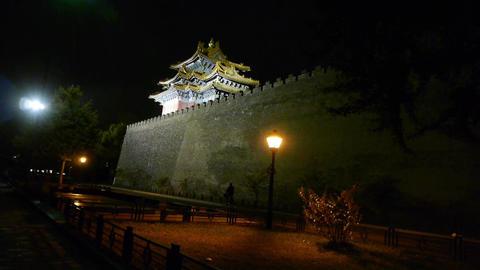 Panoramic of Beijing Forbidden City turret in... Stock Video Footage
