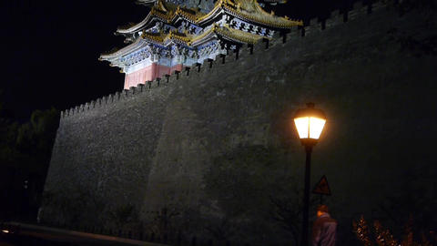 Panoramic of Beijing Forbidden City turret & street... Stock Video Footage