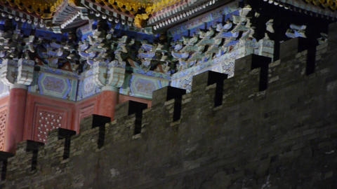 Beijing Forbidden City turret in night.Gorgeous palace.the Great Wall brick batt Footage