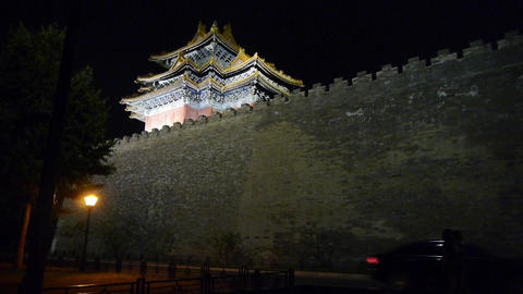 Panoramic of Beijing Forbidden City turret in night.Gorgeous palace.Car driving  Footage