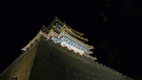 Panoramic of Beijing Forbidden City turret & crown of tree in night.Gorgeous Footage