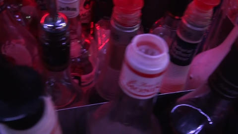 Bottles at the bar Stock Video Footage