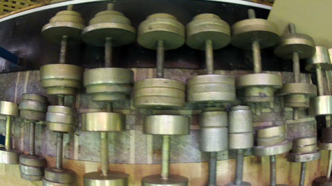 Dumbbells on the shelf Stock Video Footage