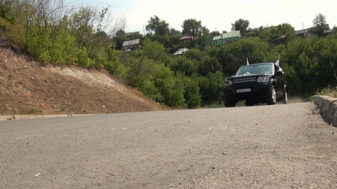 Jeep on the highway Stock Video Footage