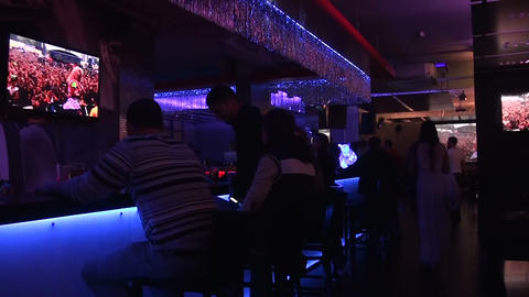 Night Club, Visitors. stock footage