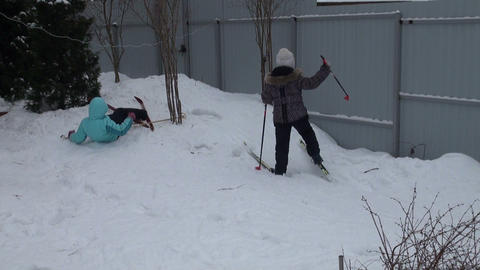 Girl skiing Stock Video Footage