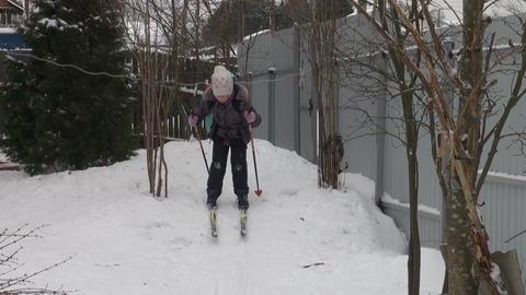 Girl skiing Stock Video Footage