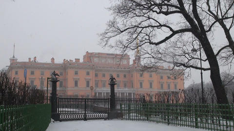 The Mikhailovsky castle in St. Petersburg Stock Video Footage