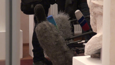 Microphones at the press-conference Footage