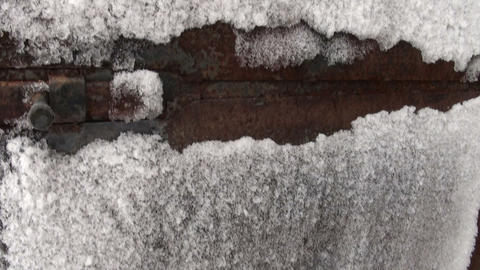 Frozen iron door, frost Footage