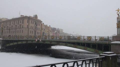 The bridge in St. Petersburg. The winter Stock Video Footage