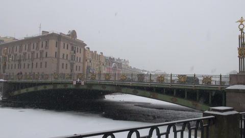The bridge in St. Petersburg. The winter Stock Video Footage
