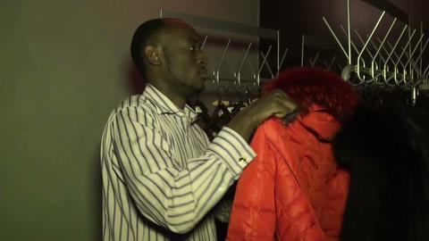 The Black in clothes works Stock Video Footage