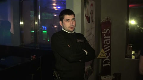 The guard in the club, security Stock Video Footage