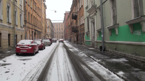Old street in St. Petersburg Stock Video Footage