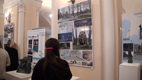 Visitors to the exhibition Stock Video Footage