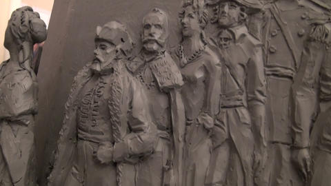 Models of monuments to the founder of Russia Rurick Stock Video Footage