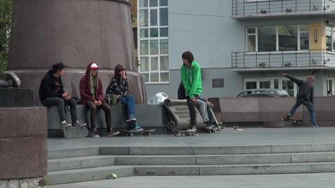 Skating on roller skates Stock Video Footage