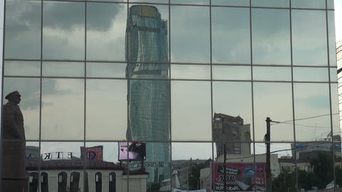 Mirror wall of the building Stock Video Footage