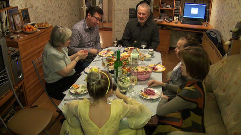 The family for a celebration Stock Video Footage
