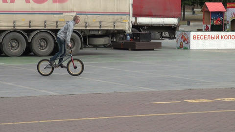 Friends on bikes in the city Stock Video Footage