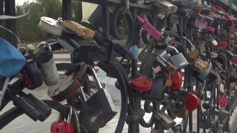 The locks on the lattice bridge Stock Video Footage