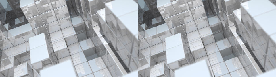 Reflective Cube Fortress - Stereoscopic 3D Stock Video Footage