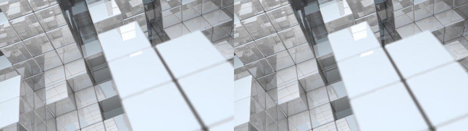 Reflective Cube Fortress - Stereoscopic 3D stock footage