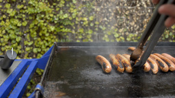 Cooking Sausages on a Barbecue Stock Video Footage