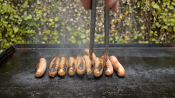 Cooking Sausages on a Barbecue Footage