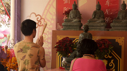 Thai People Praying in the Chinese New Year Footage