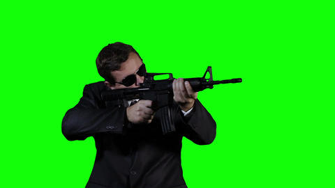 Bodyguard with Gun Action Greenscreen 31 Stock Video Footage
