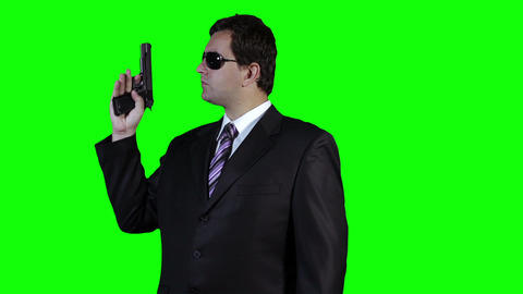 Bodyguard with Pistol Gun Watching Greenscreen 22 Footage