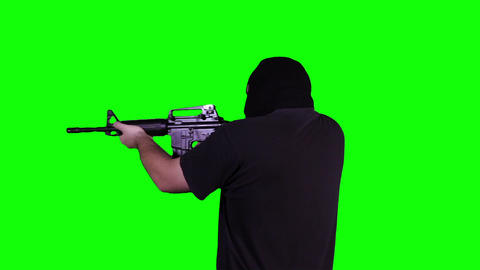 Man in Mask with Gun Action Back Greenscreen 19 Footage
