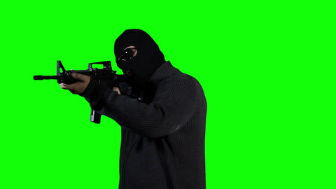 Man in Mask with Gun Action Greenscreen 40 Footage