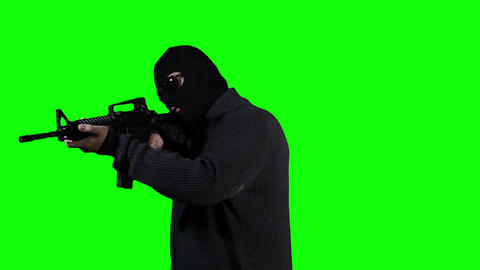 Man in Mask with Gun Action Greenscreen 40 Stock Video Footage