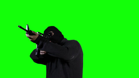 Man in Mask with Gun Action Greenscreen 42 Stock Video Footage