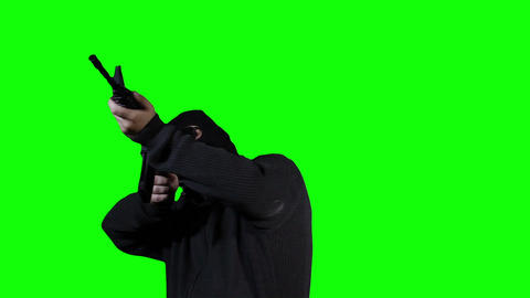 Man in Mask with Gun Action Greenscreen 42 Footage