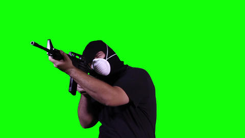 Man in Mask with Gun in Action Greenscreen 11 Footage
