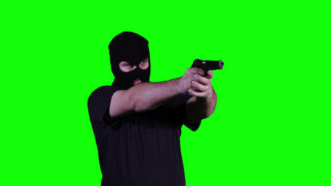 Man in Mask with Pistol Gun Action Nervous Breakdown... Stock Video Footage