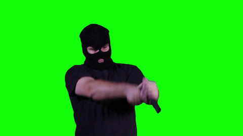 Man in Mask with Pistol Gun Action Nervous Breakdown Greenscreen 23 Footage