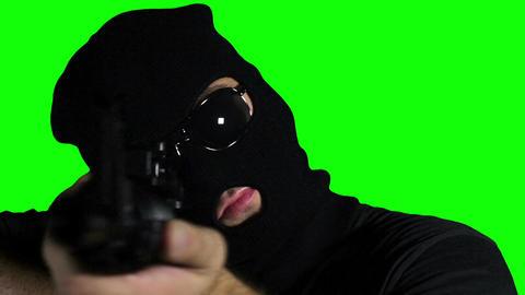 Man with Gun Action Closeup Greenscreen 64 Stock Video Footage