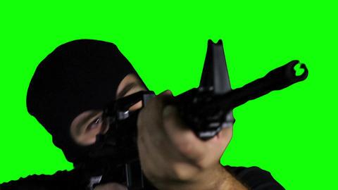 Man with Gun Action Closeup Greenscreen 66 Stock Video Footage
