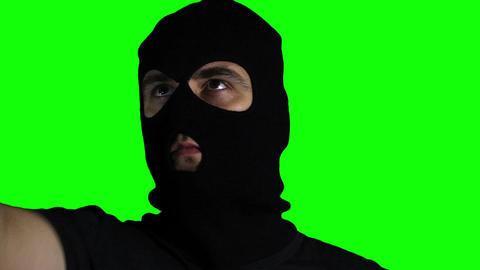 Man with Gun Action Closeup Greenscreen 69 Stock Video Footage