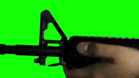 Man with Gun Action Closeup Greenscreen 71 Footage