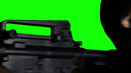 Man with Gun Action Closeup Greenscreen 71 Stock Video Footage