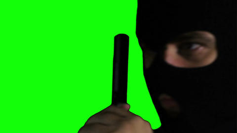 Man with Pistol Gun Action Closeup Greenscreen 73 Stock Video Footage